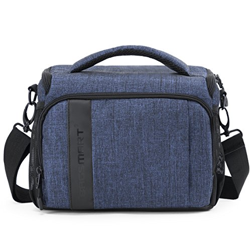 (BAGSMART Compact Camera Shoulder Bag for SLR/DSLR with Waterproof Rain Cover, Heather Blue )