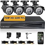 DEFEWAY 4 CH 720P 1200TVL AHD DVR Kit 4 PCS 1200TVL Outdoor Vision Security Cameras Home Security Surveillance Camera System