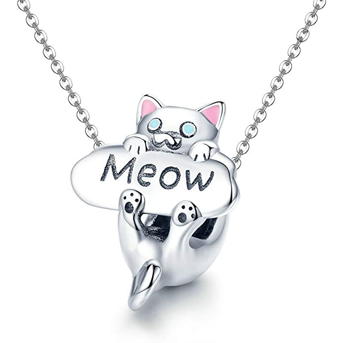 Reiko Meow Gato Plata de Ley 925 Charms Bricolaje Collar Colgante Collares Pulseras para Charms Abalorios para Mujer,Regalo para Niña,Caja de Regalo,Cinco ...