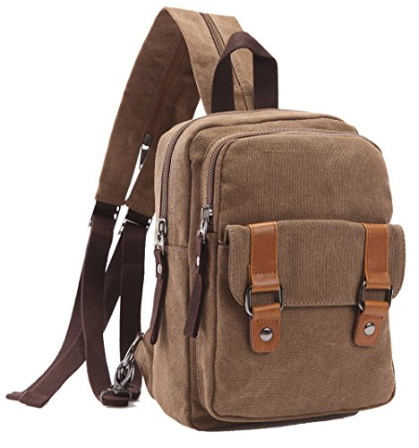 Small Canvas Backpack - Arbag Small Cute Backpack Vintage Casual Canvas Shoulder Bag Daypack 8528bag,Coffee