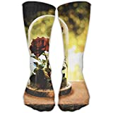 Rose Butterfly Glass Bottle Casual Running Long Socks Novelty High Athletic Sock Unisex