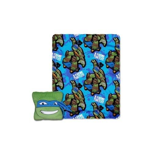 Sports Pocket Blanket Pillow (Nickelodeon's Teenage Mutant Ninja Turtles,Leo Maxin Pillow and Fleece Throw Blanket with Pocket Set, 40