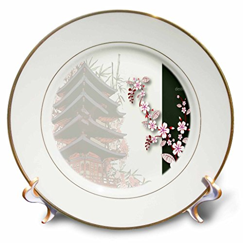 - 3dRose A A Japanese Pagoda Shrine with The Word Destiny Plate, 8