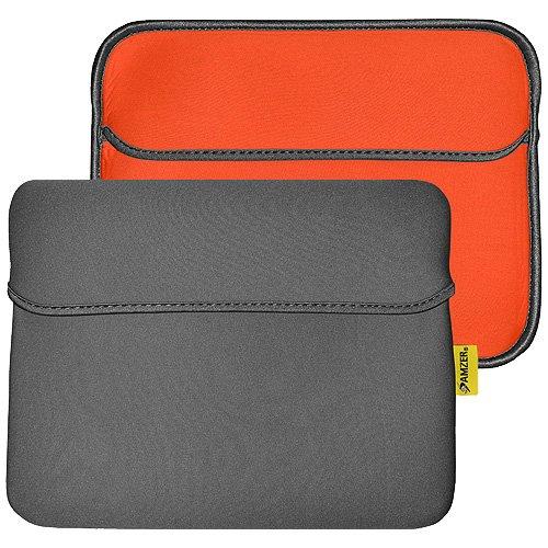 Amzer 10.6-Inch Slim Reversible Neoprene Horizontal Sleeve with Pocket for TableteBook Reader - Slate GreyBurnt Orange (AMZ94870)