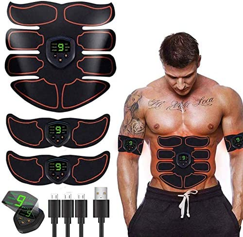 SHENGMI ABS Stimulator Ab Machine,Ab Stimulator EMS Portable Rechargeable Gym Abs Workout Equipment and Home Office Fitness Ab Belt Equipment for Abdomen