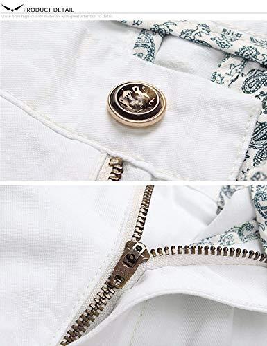 X Tasche Pantaloni Completo Formali Laterali Tinta Uomo White Cerniera Con Dritti Targogo Da Unita Dh9011 Esterno d6nq6t
