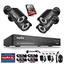 SANNCE 4CH HD 1080P High Definition DVR Surveillance Security System and (4) 2.0 MP 1920TVL Indoor/Outdoor Weatherproof Night Vision CCTV Cameras, 2TB Surveillance HDD Pre-installed