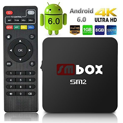 Android Box - SMBOX Android 6.0 4K 1080P TV BOX Amlogic S905X Quad-Core 1G+8G 2.4GHz Bulit - in WIFI with HDMI Cable by SMBOX