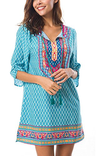 - Women Bohemian Print V Neck Casual Dress Ethnic Style Summer Short Dress (M, 1)