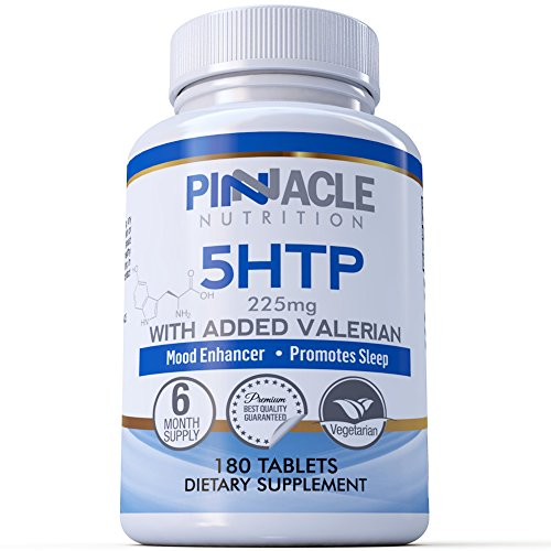 5-HTP 225mg 180 Tablets (6 Month Supply) - Double Strength 5 HTP with Added Valerian - Food Supplement