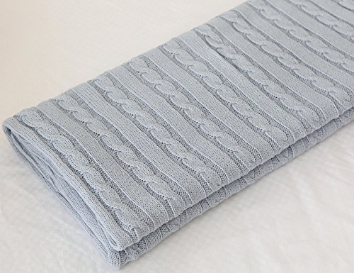 - CLEARANCE! 100% All Cotton Knit Throw for Sofa Classic Cable Pattern, 70x78 Inches, Lightweight Ideal for All Year Round Use, Slate