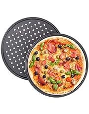 Relaxdays Pizzablek, set van 2, rond, geperforeerd, anti-aanbaklaag, pizza & flammkuchen, carbonstaal, kroonplaat, diameter 32 cm, grijs