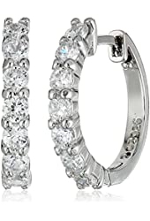 "Sterling Silver Cubic Zirconia Front Hoop Earrings (0.64"" Diameter, 0.7 cttw)"