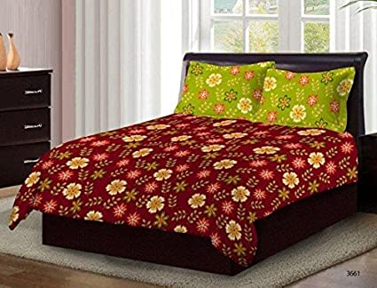 Bombay Dyeing Axia Classy Maroon Floral Print Cotton 104 TC Double Bed Sheet  With Two Green