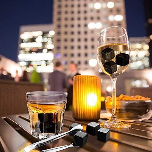 FYLINA Whisky Steine Set 12 Wiederverwendbare Eiswürfel Kühlwürfel mit Holzbox,Edelstahlzange und Aufbewahrungsbeutel für Whiskey, Wodka, Gin