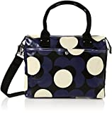 Orla Kiely Women's Shiny Laminated Shadow Flower Print Zip Messenger, Midnight