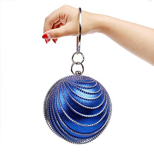 Clubs Handbag Circular For Clutch Party Bag Gift Shoulder Bag Blue Diamante Evening Ladies Women Wedding Purse Prom Bridal Glitter wRZzzIq