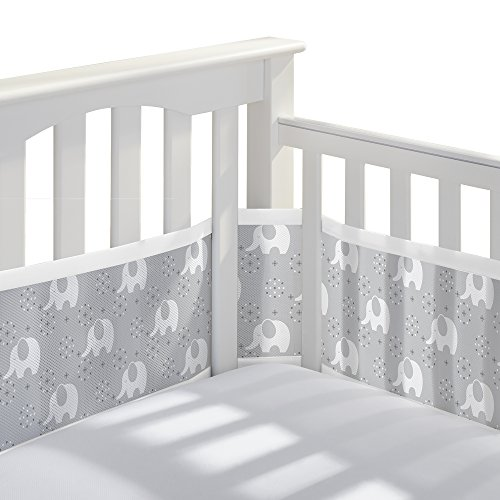 - BreathableBaby Classic Breathable Mesh Crib Liner - Peaceful Elephant Gray
