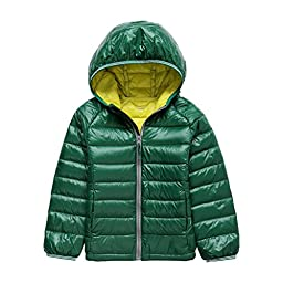 GetUBacK Kids Down Coat Warm Puffer Jacket With Hood Green CN 160