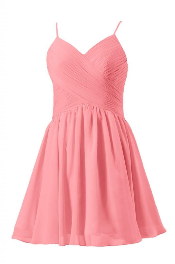 DaisyFormals V-Neckline Homecoming Dress Cocktail Dress Party Dress(BM8515N)- Light Coral