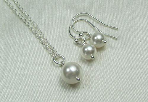 (Bridesmaid Jewelry Set Swarovski Crystal/Simulated Pearl Necklace Earrings Sterling Silver Wedding Jewelry Sets for)