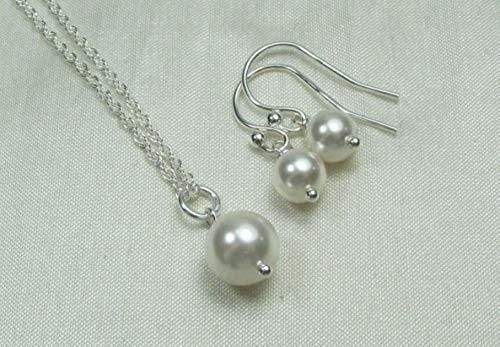 Bridesmaid Jewelry Set Swarovski Crystal/Simulated Pearl Necklace Earrings Sterling Silver Wedding Jewelry Sets for Brides (Swarovski Crystal Custom Bridal Earrings)