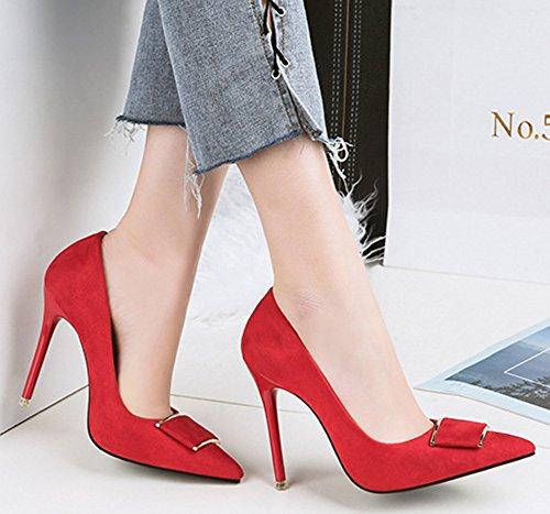 Las Mujeres De La Elegante De La Hebilla Elegante De Corte Alto De Tacón De Aguja De Tacón Alto Del Tacón Alto Señalaron Las Bombas Nupciales De Los Zapatos Del Rojo Del Tacón Alto