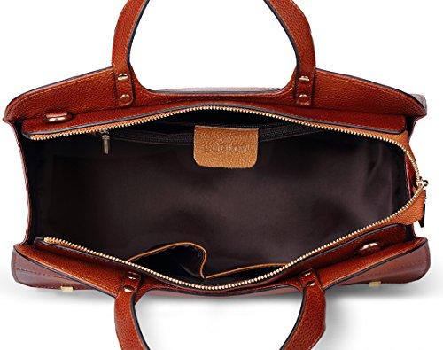 Leather Coolcy Genuine Sorrel for Vintage Women Bag Tote Simple Handbags Purses gErEqw