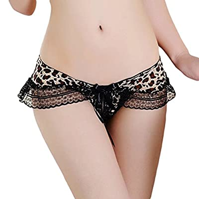HitZoom Women Sexy lace lingerie Open Crotch Thong G Strings