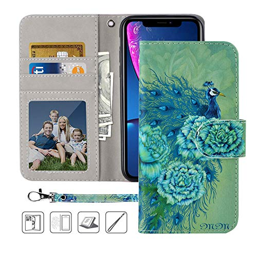 iPhone XR Wallet Case, MagicSky iPhone XR Case,Premium PU Leather Flip Folio Case Cover with Wrist Strap, Card Holder,Cash Pocket,Kickstand for Apple iPhone XR 6.1 inch - Green Peacock