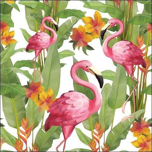6  X  Single Paper Napkins Pink Flamingos 33cm  3 Ply