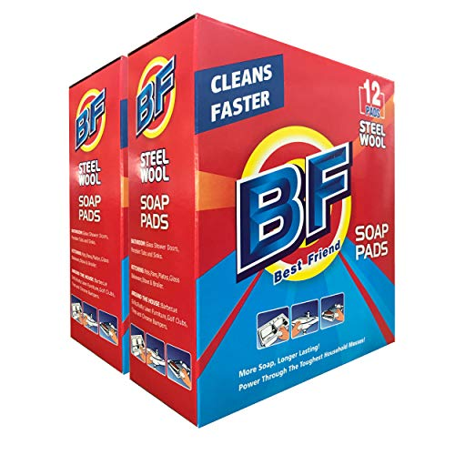 (BF Steel Wool Soap Pads, 100% Cleaning Decontamination - Not Damage Surface-Kitchen-Bathroom-Furniture-Car-Shoes(2 Pack-12 Count))