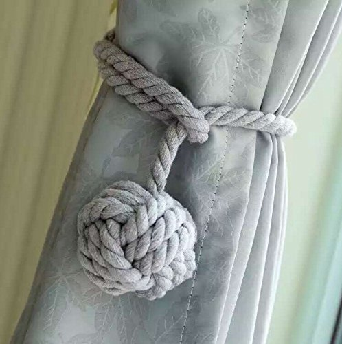 MorningRising A Pair of Hand Knitting Curtain Rope Cord Rural Cotton Tie Backs with Single Ball Grey