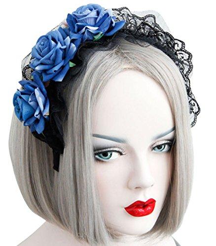 Ethel Women's Gothic Lolita Rose Headband Halloween Hair Accessories (One Size, blue) -