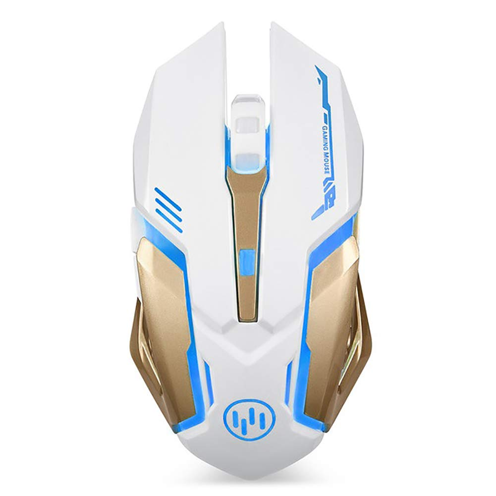 Wireless Mouse for Laptop, Scettar Computer Gaming Mouse Unique Silent Click, 7 Breathing Led Light, 3 Adjustable DPI,Iron Plate, Power Saving Mode for Laptop PC Notebook