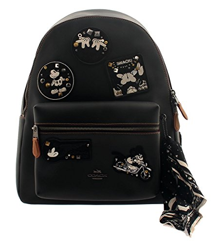 COACH Mickey Mouse Leather Backpack in Patchwork Black by Coach