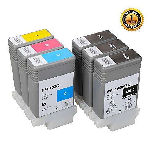 PFI102 Compatible Replacement inkjet cartridge suitable for Canon iPF 700/710/720/760/650/655/750/755/600/610/605/500/510 6PC 130ml WINK