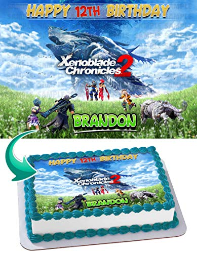 Xenoblade Chronicles Edible Cake Image Topper Personalized Birthday 1/4 Sheet Custom Sheet Party Birthday Sugar Frosting Transfer Fondant Image ~ Best Quality Edible Image for Cake