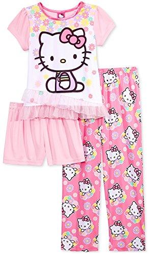 Hello Kitty Pj (Hello Kitty Girls 3-Piece Cute, Flower Pajama Set, Kids Size)