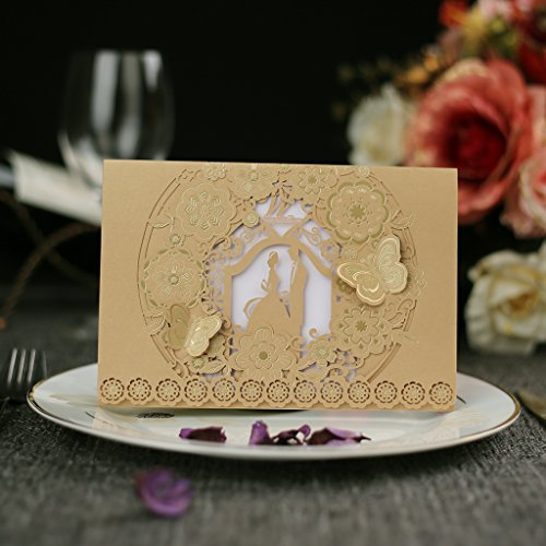 Embossed Graphics Invitations - Laser Cut Wedding Invitations Kits 50 pack, FOMTOR Laser Wedding Invitations with Blank Printable Paper and Envelopes (Gold+ White)