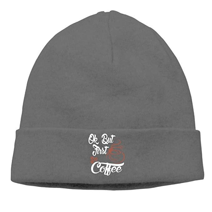 si fang Beanies Hats Winter Skull Caps Knit Caps OK BUT First Coffee 4  Unisex Cycling  Amazon.ca  Clothing   Accessories ff77ab79d9d6