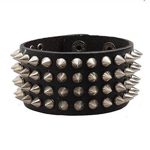 Fariishta Jewelry Punk Gothic Rock Style Nail Rivet Leather Bracelet(3#)