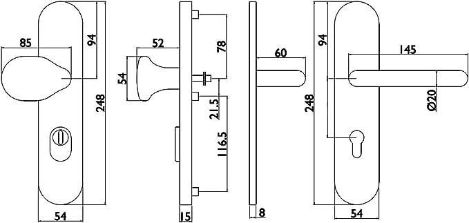 Hermat Basic 02 Schutzbeschlag ES1 HT-Schutz-Wechsel-Garnitur 92mm ZA Edelstahl