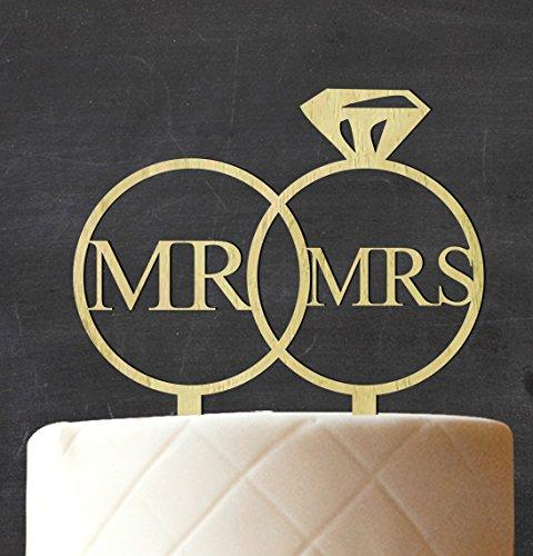 """Mr & Mrs"" Wedding Couple Cake Topper Custom Rustic Wooden C"