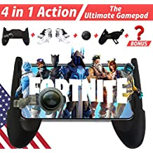 Mobile Game Controller and Gamepad for PUBG/Fortnite/Knives Out/Rules of Survival for iPhone iOS/Android【Upgraded Version】 GAMR+ Sensitive Shoot and Aim Triggers for L1R1 Mobile Joystick Gaming Grip