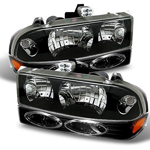 For 98-05 Chevy S10 | Blazer Pickup Truck Black Bezel Headlight + Bumper light Assembly