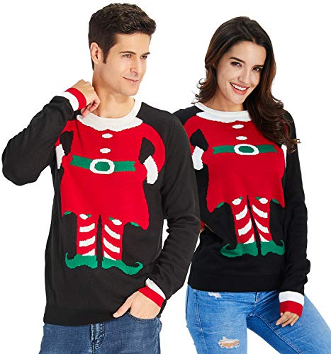 (RAISEVERN Unisex's Ugly Christmas Sweater Elf Black Funny Xmas Sweater Funny Print Long Sleeve Knitted)