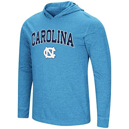 - Colosseum Men's NCAA-Fall Semester-Long Sleeve Hoody Pullover T-Shirt-North Carolina Tar Heels-Carolina Blue-Large