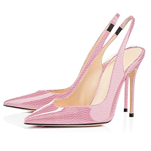 ELASHE Women High Heels Pumps| Sexy Slingback Sandals | Pointed Toe Stiletto | 10cm Court Shoes Litchi-Rose ZZCHMpP