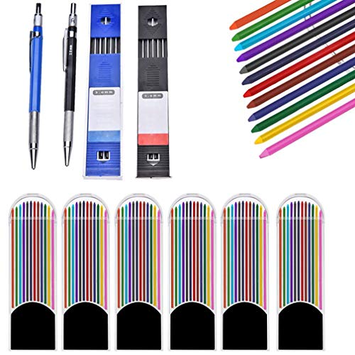 (OBANGONG 2 Pcs 2.0 mm Mechanical Pencils with 6 Pcs Colored Lead Refills 2 Pcs Black Lead Refills for Writing Draft Drawing Crafting)
